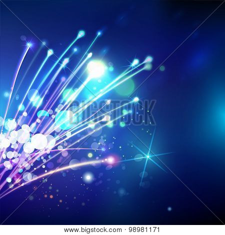 Abstract Optical Fibers At Blue Space Background