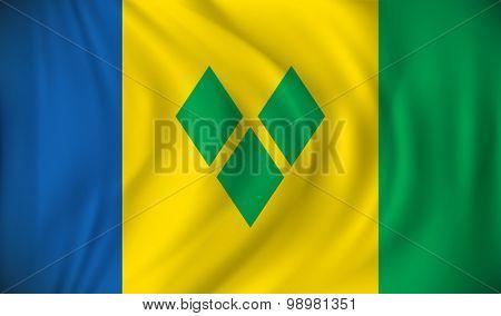Flag of Saint Vincent and Grenadines - vector illustration