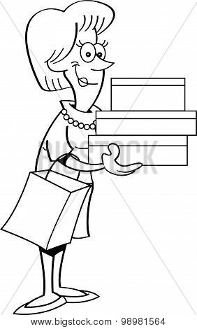 Cartoon women holding packages.