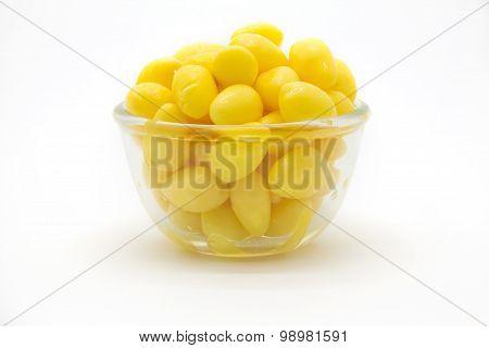 Ginkgo nuts Ginkgo biloba in glass bowl