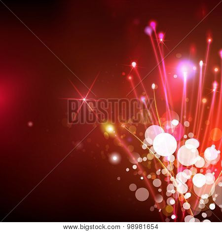 Abstract Optical Fibers At Red Sky Background