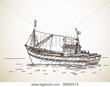 Fishing boat, Vector sketch, Hand drawn illustration
