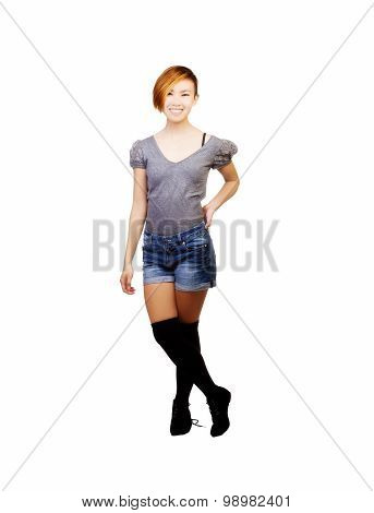 Smiling Standing Asian American Woman In Shorts
