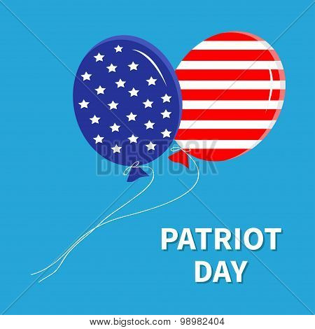 Balloons With Stars And Strips Flying In The Sky. Patriot Day Flat Design