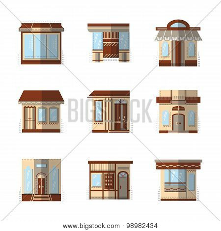 Storefronts flat color vector icons