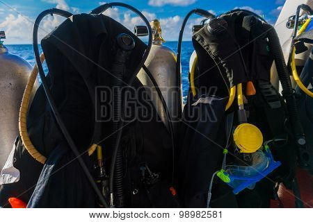 Scuba Diving Kit Set Up Ready For Dive