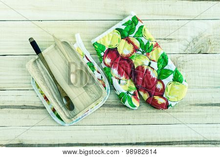 Kitchenware On Wooden Background. Top View With Text Space