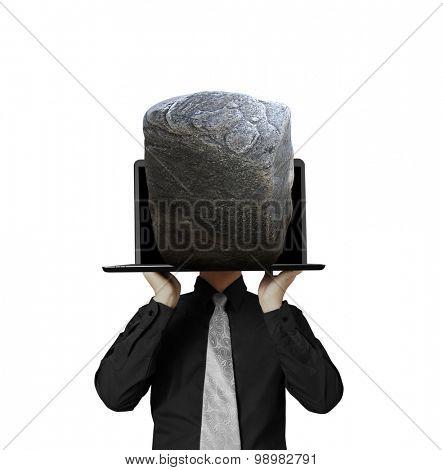 man showing a laptop against