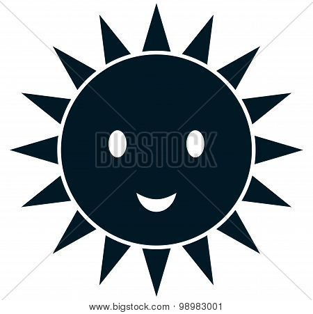 Vector Funny Sun Illustration Isolated On White