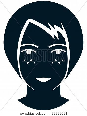 Vector Girl With Sunspots Illustration Isolated On White