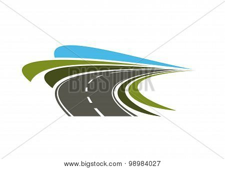 Steep turn of speed road icon
