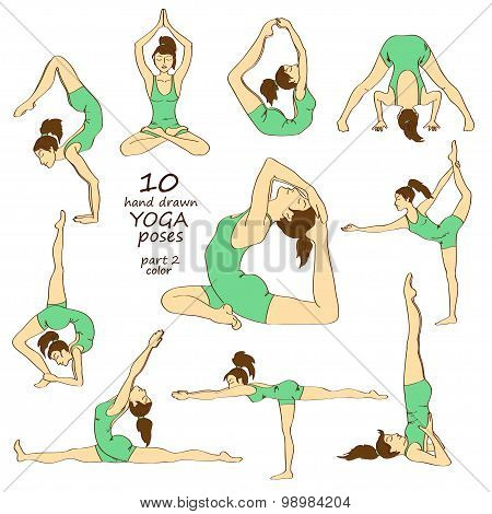 Set Of Isolated Colorful Yoga Poses.