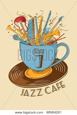 Jazz Cafe Concept With Musical Instruments In A Cup
