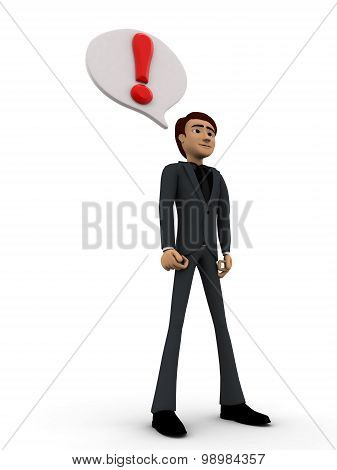 3D Man With Exclamation Mark In Chat Bubble Concept
