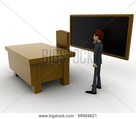 3D Man Teacher Teach On Black Board Concept