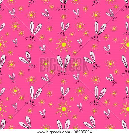 Seamless pattern of the hare and the sun