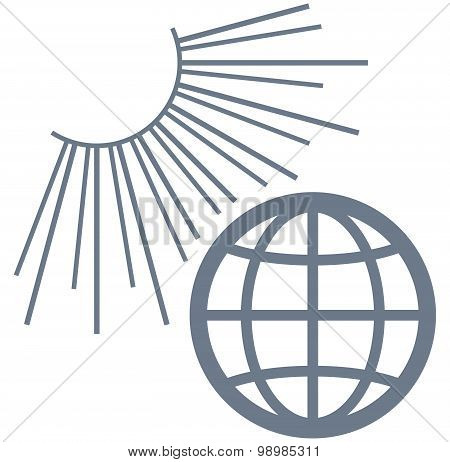Vector Earth In Sunlight Illustration Isolated On White