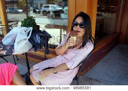 Woman Eats Kilwin's Ice Cream