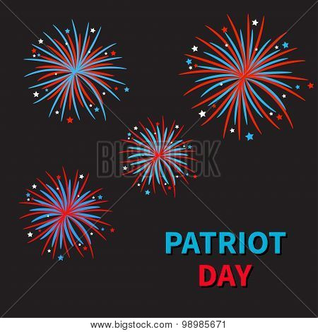 Patriot Day Fireworks Black Night Sky Star And Strip  Flat Design