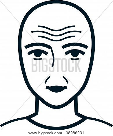 Vector Wrinkled Face Illustration Isolated On White