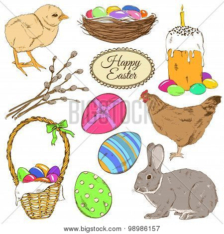 Set Of Colorful Easter Icons.