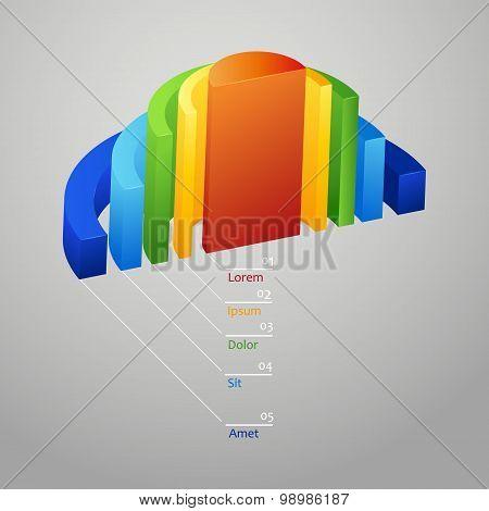 Half - circle, colorful 3D diagram