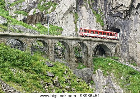 The Devil's Bridge With Train, Switzerland
