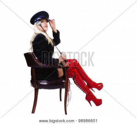 Middle Aged Caucasian Woman Sitting In Chair