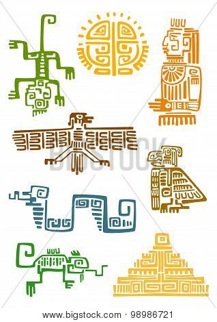 Aztec and maya ornamental symbols