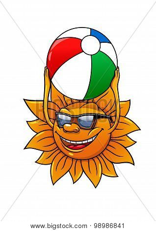 Funny summer sun with ball