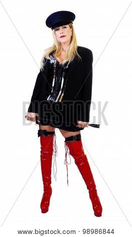 Middle Aged Caucasian Woman Standing Corset Boots