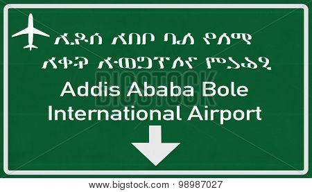 Addis Ababa Ethiopia Airport Highway Sign