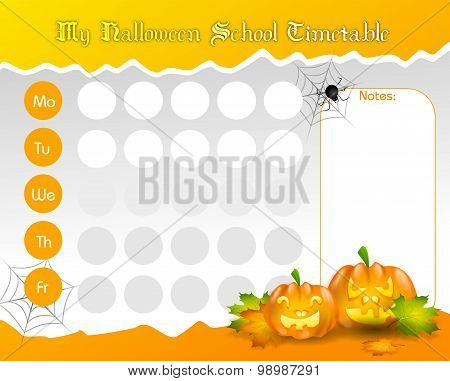 Halloween School Timetable