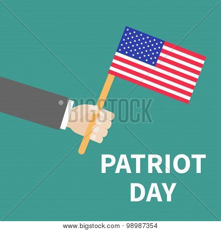 Hand With American Flag Patriot Day Background Flat Design Card