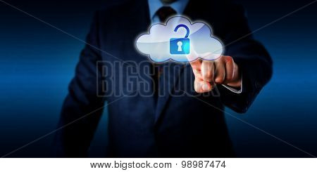 Manager Opening A Lock In The Cloud Via Touch
