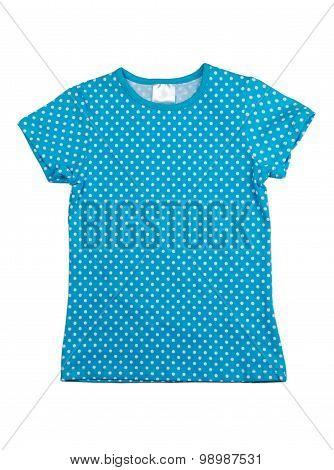 Blue Shirt With White Polka Dots