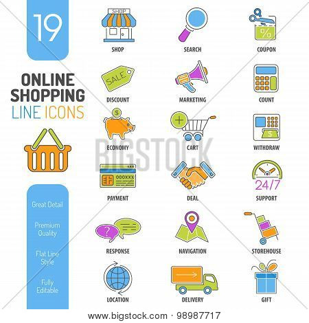Online Shopping Thin Lines Color Web Icon Set
