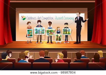 Kids Receiving Award In Art Competition