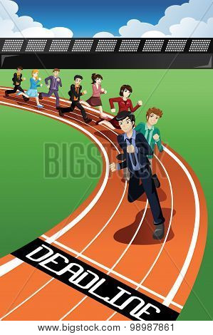 Business People Racing Against Time