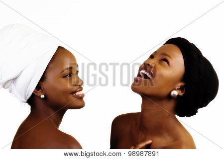 Bare Shoulder Portrait Two Black Sisters In Head Scarves