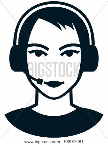Vector Head In Headphones Isolated On White Background