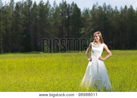 Young Girl In A Wedding Dress Smiling