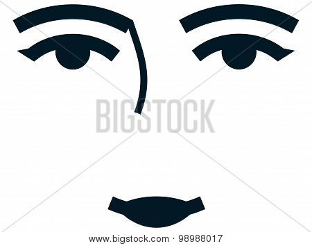 Vector Female Face Isolated On White Background