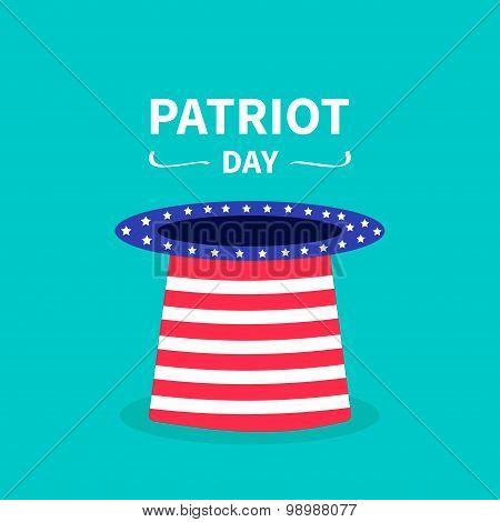 Big Hat With Stars And Strip. Patriot Day Background Flat Design