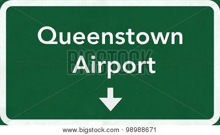 Queenstown New Zealand Airport Highway Sign