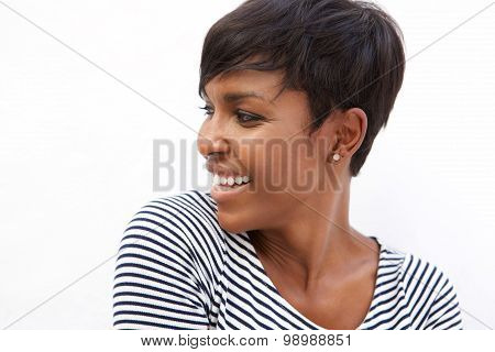Young African American Woman Smiling And Looking Away