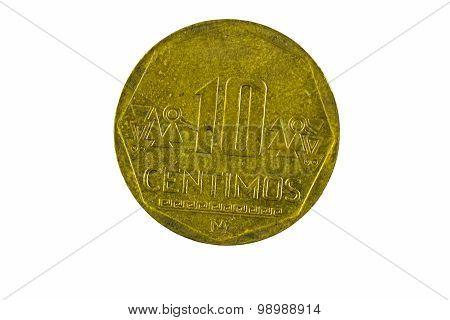 Ten Centimos Metal Coin From Peru Closeup