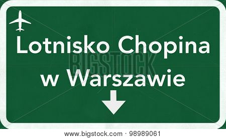 Warsaw Poland Airport Highway Sign