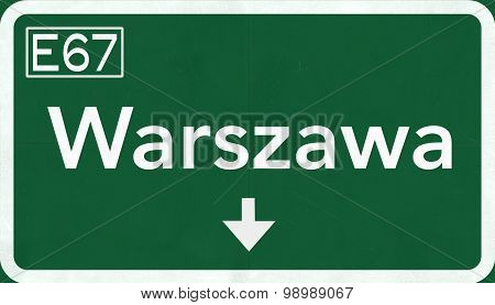 Warsaw Poland Highway Sign