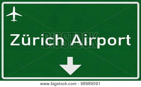 Zurich Switzerland Airport Highway Sign